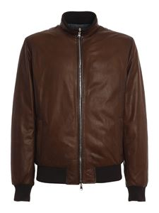 Barba - Reversible leather jacket in brown
