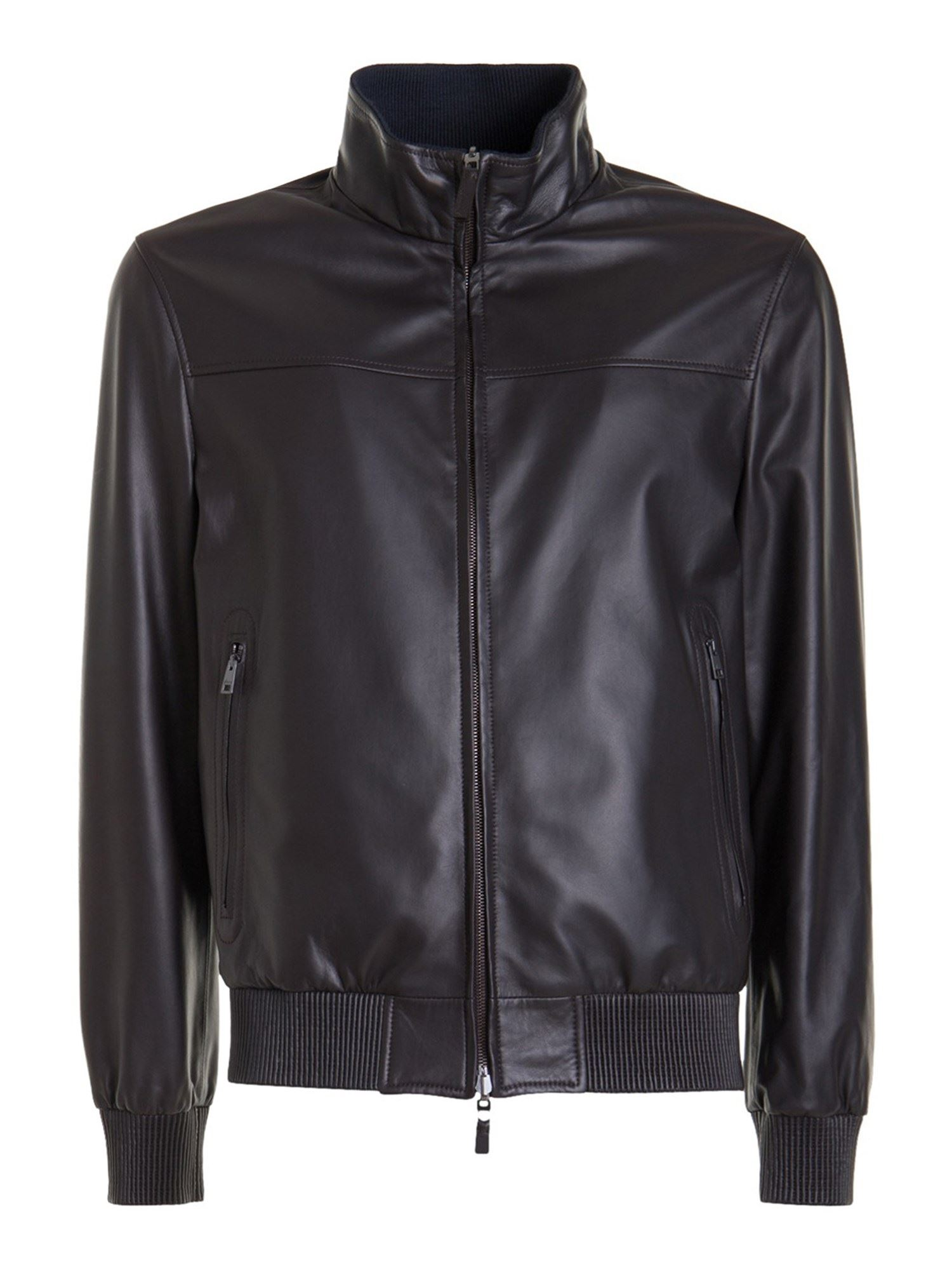 Brioni REVERSIBLE LEATHER JACKET IN BROWN