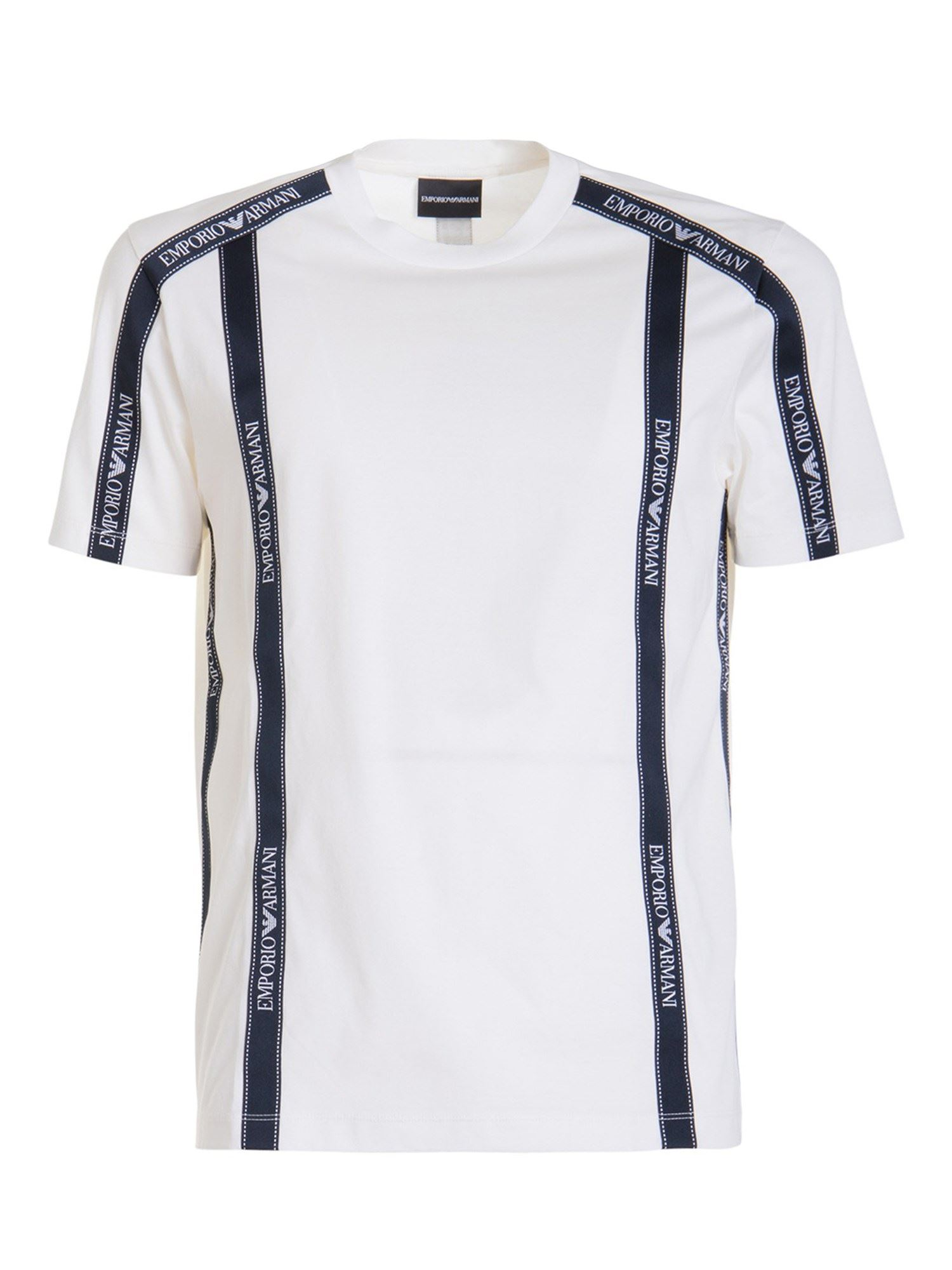 Emporio Armani LOGO TAPE COTTON T-SHIRT IN WHITE