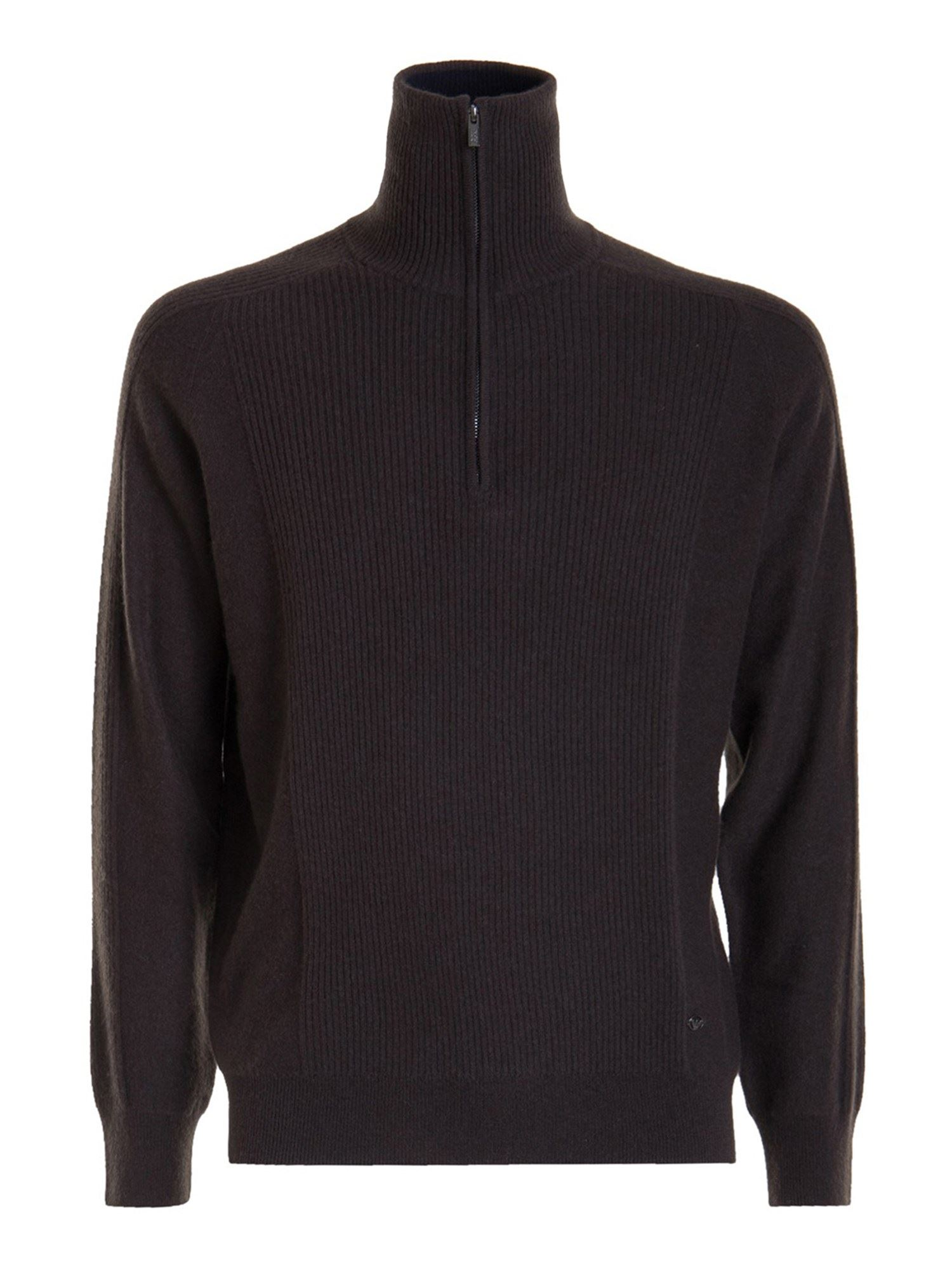 Emporio Armani WOOL-CASHMERE BLEND TURTLENECK IN BROWN