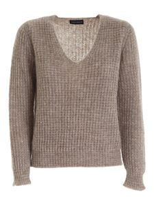 Paolo Fiorillo - Sequins ribbed pullover in brown