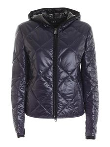 Paolo Fiorillo - Quilted blue down jacket with hood