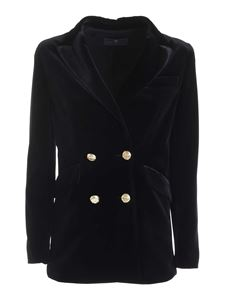 Paolo Fiorillo - Double-breasted velvet jacket in black