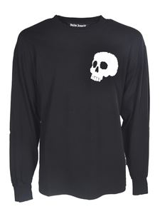 Palm Angels - T-shirt manica lunga Skull nera