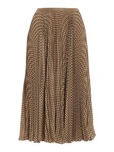 POLO Ralph Lauren - Large houndstooth patterned midi skirt in brown