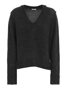 Parosh - Wool blend V-neck sweater in grey