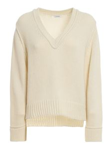 Parosh - Wool blend V-neck sweater in white