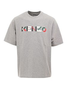 Kenzo - Cotton T-shirt with logo in grey