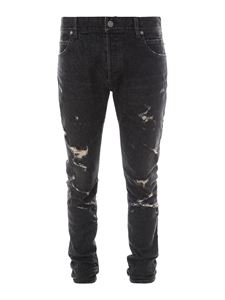 Balmain - Five pockets ripped jeans in black