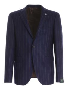 Brando - Striped pattern single-breasted suit in blue