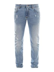 Dolce & Gabbana - Distressed effect skinny jeans in blue
