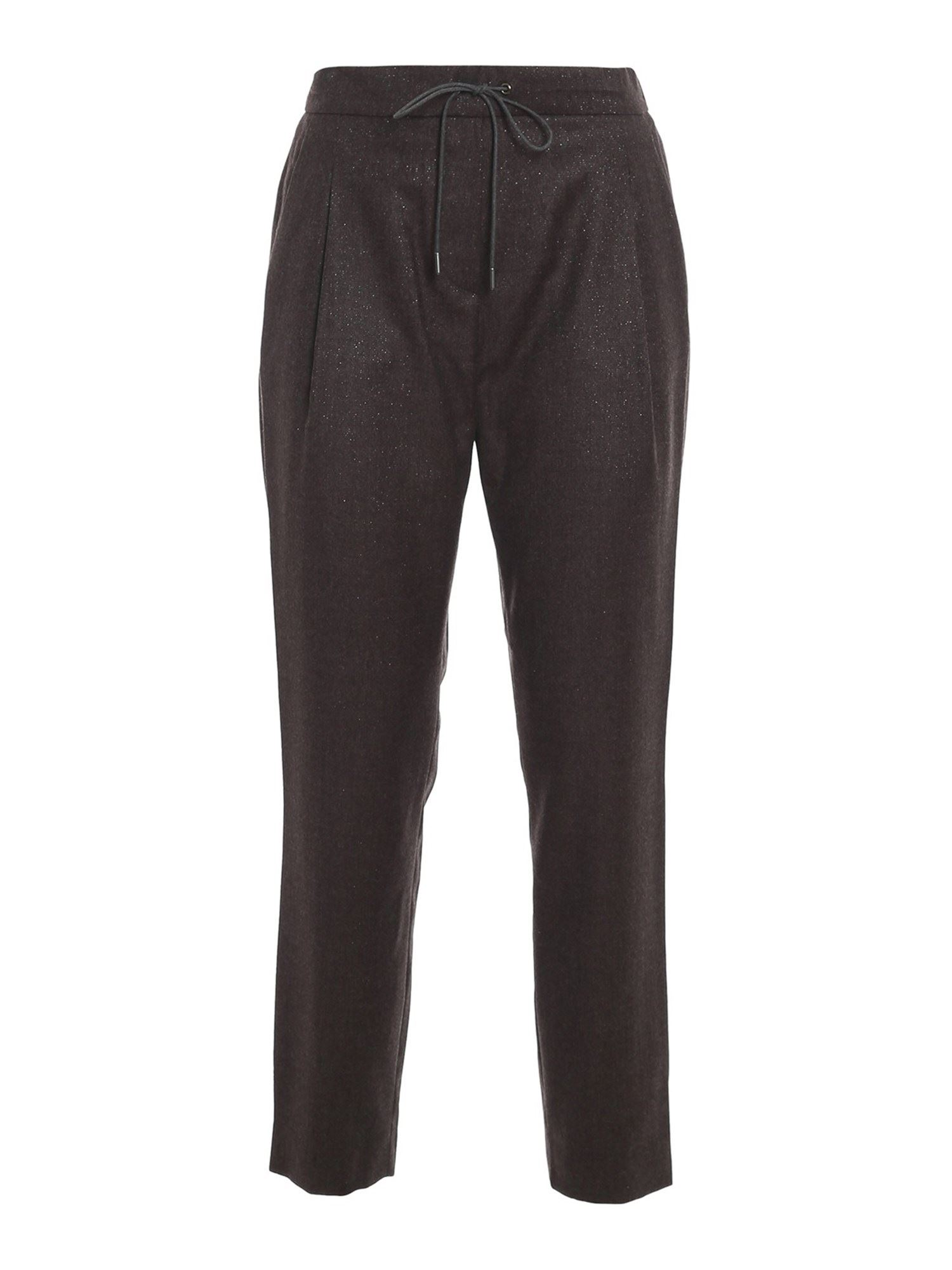 Fabiana Filippi Wool-blend Trousers With Drawsting At Waist In Brown