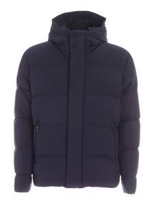 Herno - Quilted blue down jacket with hood