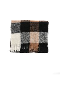 Woolrich - Bouclé scarf in brown black and white