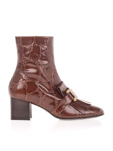Tod's - Kate croco fringe ankle boots in brown