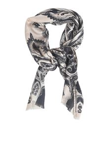 Etro - Printed scarf in beige and black