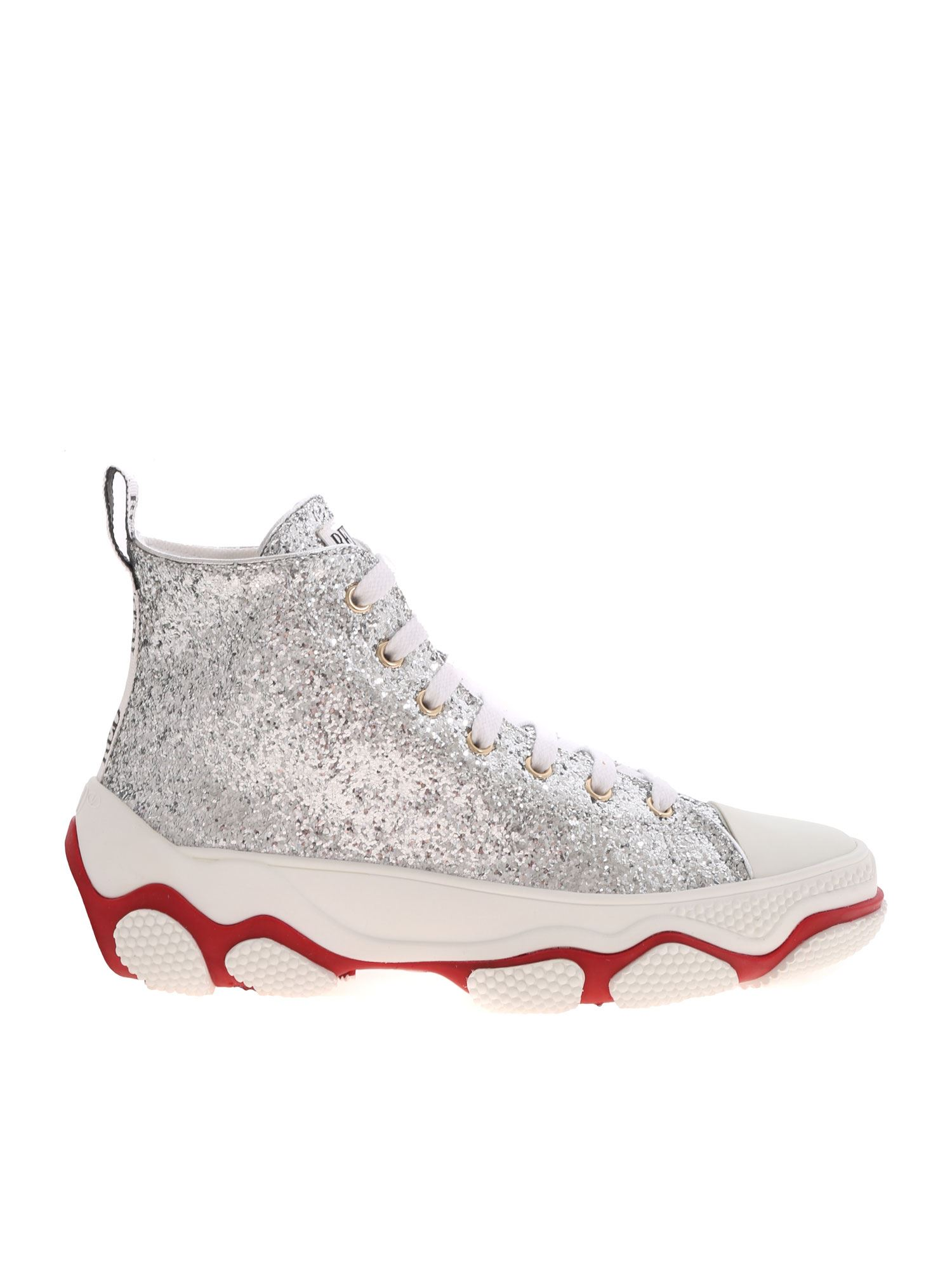 Red Valentino GLAM RUN SNEAKERS IN SILVER COLOR