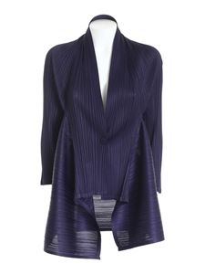 PLEATS PLEASE Issey Miyake - Com Moto pleated cardigan in blue