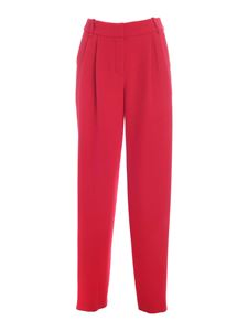Emporio Armani - Tucks loose fit pants in red