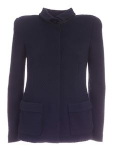 Emporio Armani - Embossed pattern jacket in blue