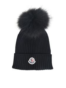 Moncler Jr - Ribbed beanie in black