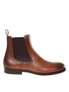Santoni - Calfskin ankle boots in brown
