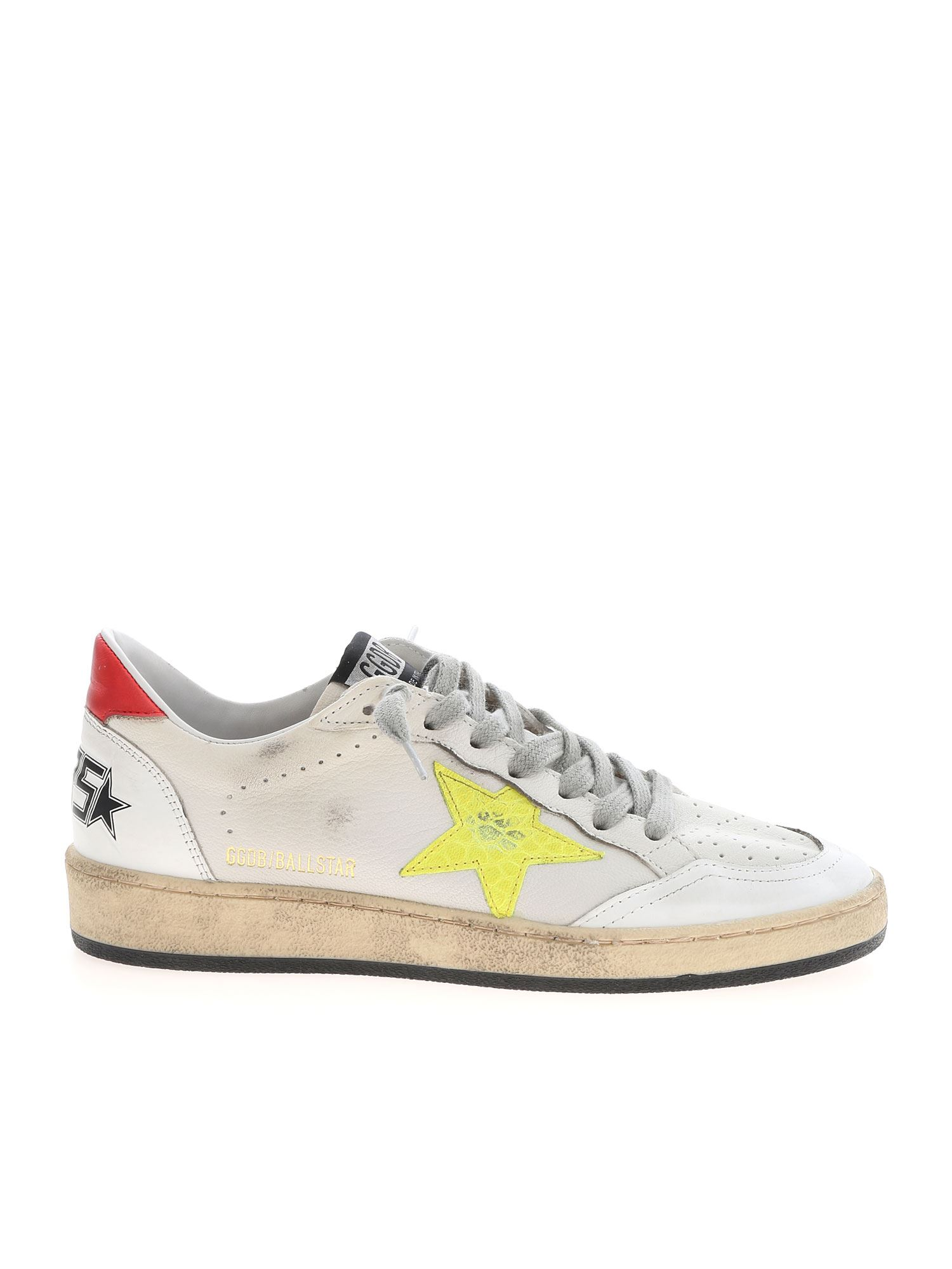 Golden Goose BALL STAR SNEAKERS IN WHITE, RED AND YELLOW