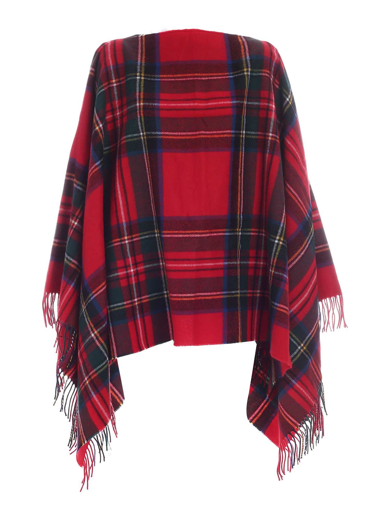 Comme Des Garçons Shirt CHECKED PATTERN CAPE IN RED