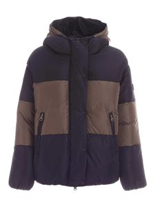 Save the duck - Striped puffer jacket in black and beige
