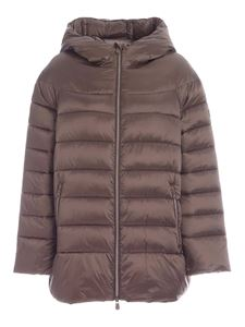 Save the duck - Irisy  hooded puffer jacket in brown