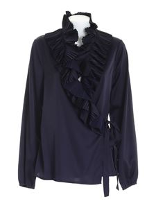 Parosh - Palace pleated blouse in blue