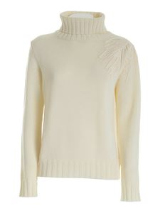 Parosh - Embroidery turtleneck in white