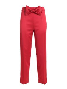be Blumarine - Bow satin pants in red