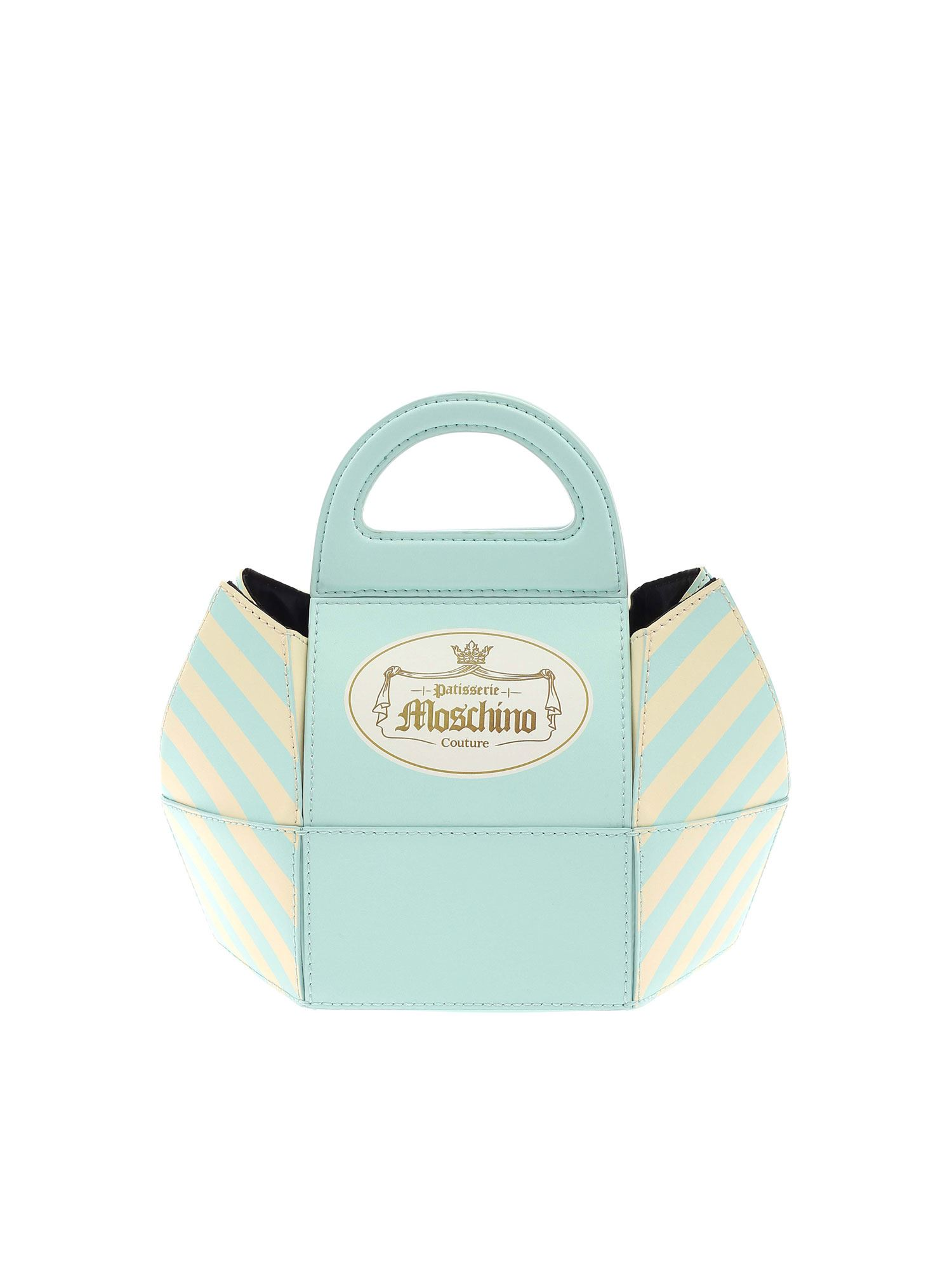 Moschino Cake Box Small Bag In Light Blue And Yellow In Azure