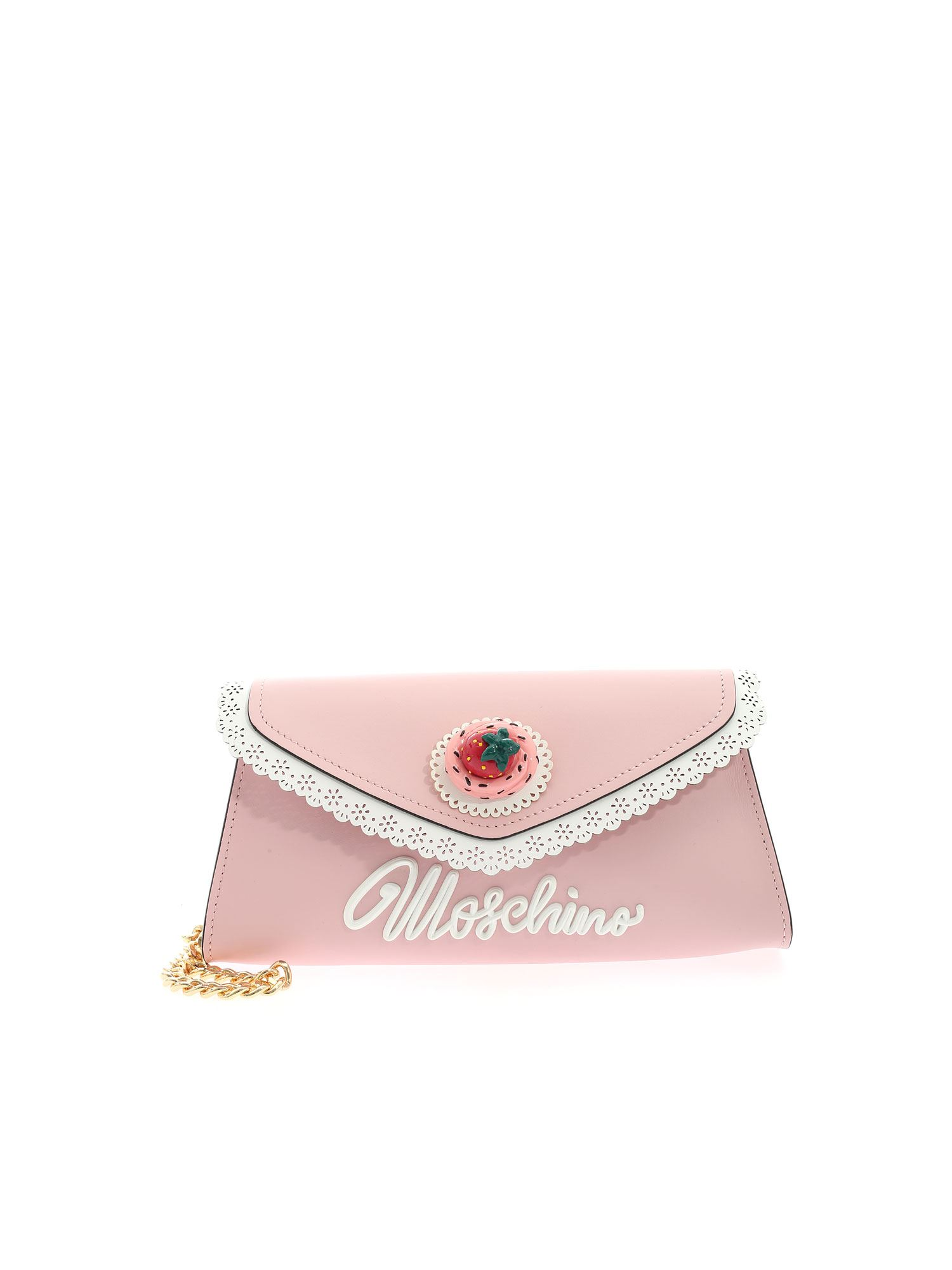 Moschino FROSTING EFFECT CLUTCH BAG IN PINK