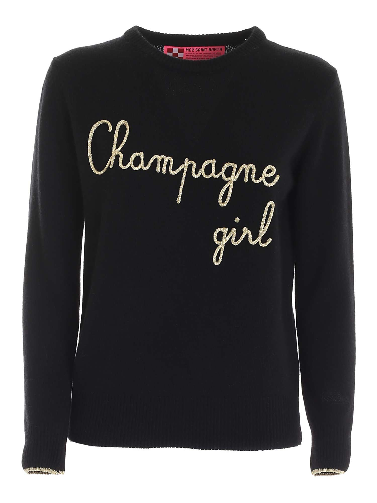 Mc2 Saint Barth BLACK PULLOVER WITH CHAMPAGNE GIRL EMBROIDERY