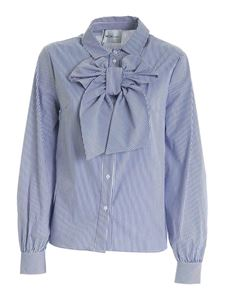 be Blumarine - Bow striped shirt in blue and white