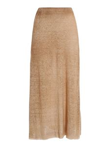 Avant Toi - Mélange wool midi skirt in camel color