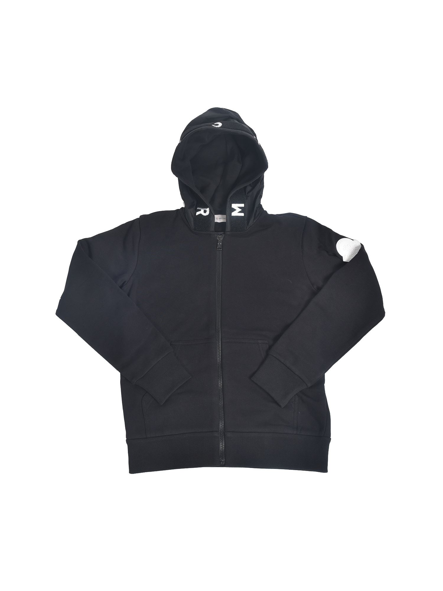 Moncler Jr Cottons SWEATSHIRT WITH LOGO PATCH IN BLACK