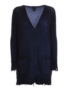 Avant Toi - Stretch cotton blend V-neck cardigan in blue