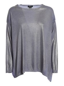 Avant Toi - Floral silk back oversized sweater in purple