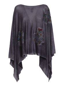 Avant Toi - Pilling effect floral inserts poncho in purple
