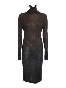 Avant Toi - Ribbed turtleneck dress in black