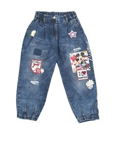 Monnalisa - Jeans con patch Minnie e Mickey Mouse blu