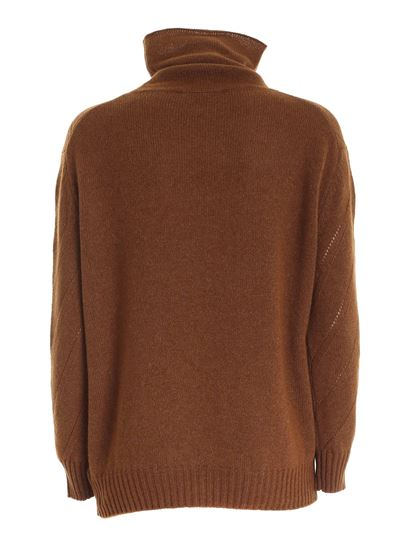 Zanone - Drilled knitting turtleneck in brown