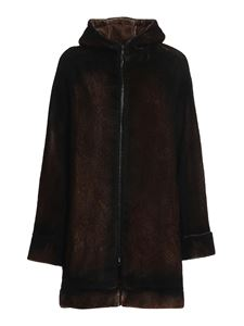 Avant Toi - Cappotto in eco pelliccia con zip marrone