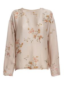 Avant Toi - Floral silk front and sleeves sweater in beige