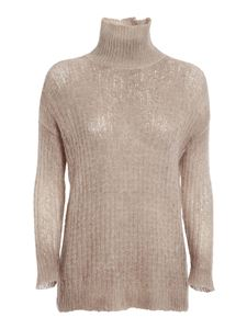 Avant Toi - Hexagon stitch turtleneck in beige