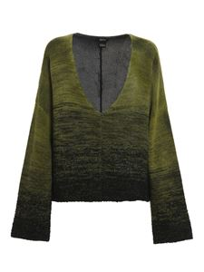 Avant Toi - Maxi V-neck sweater in green