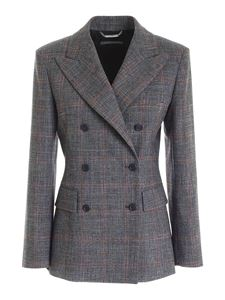 Alberta Ferretti - Double-breasted jacket in black grey and red